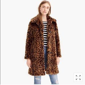 J Crew Faux Fur Leopard Coat